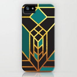 Art Deco Leaving A Puzzle In Turquoise iPhone Case