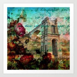 Vintage Castle Rose Garden Art Print