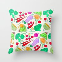vegetables Throw Pillows featuring Vegetables! by Niche Drawings