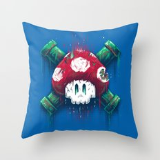 Mushroom Skull Throw Pillow