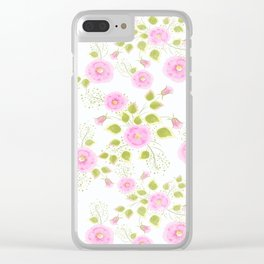 Pink flowers on a white background Clear iPhone Case