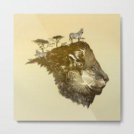 Lion Savanna Metal Print