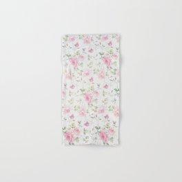 Elegant blush pink white vintage rose floral Hand & Bath Towel