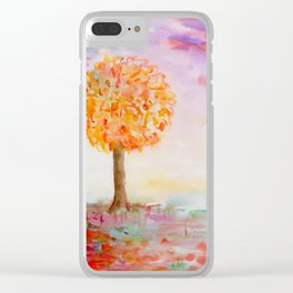 Watercolor Autumn Tree Clear iPhone Case