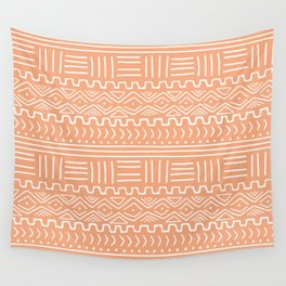 Mud Cloth on Orange Wall Tapestry