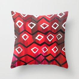Red and Black Diamond Chevron  Throw Pillow