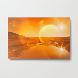 Twin Suns of Point Reyes - Gold Bokeh Bliss Metal Print