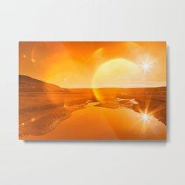 Twin Suns of Point Reyes - Gold Bokeh Bliss Metal Print