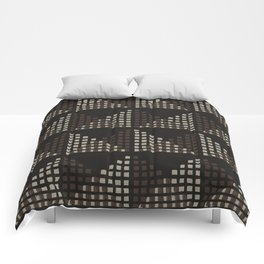 Layered Geometric Block Print in Chocolate Comforters