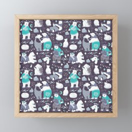 Arctic bear pajamas party Framed Mini Art Print