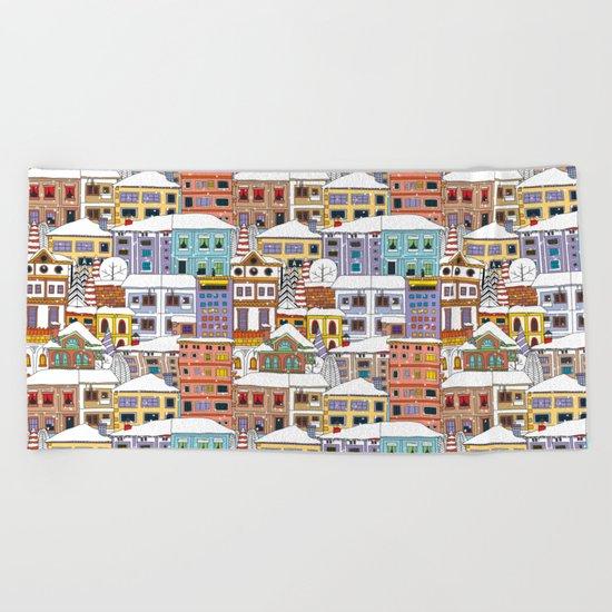 Winter town pattern Beach Towel