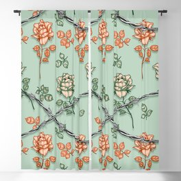Vintage roses and thorns Blackout Curtain