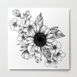 Bouquet of Flowers with Sunflower / Fall floral lineart Metal Print