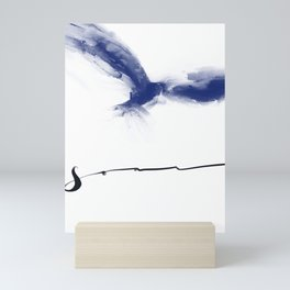 Soar Blue Abstract Bird with Lettering Mini Art Print
