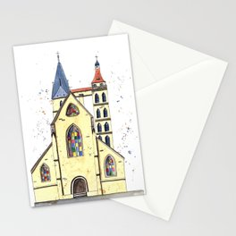Gothic Church in Germany whimsical watercolor painting Stationery Cards