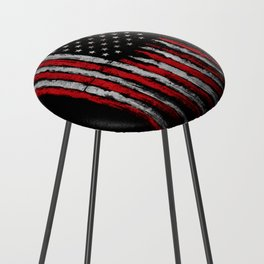 Red & white Grunge American flag Counter Stool