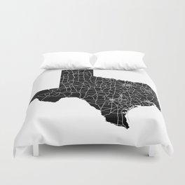 Texas Black Map Duvet Cover
