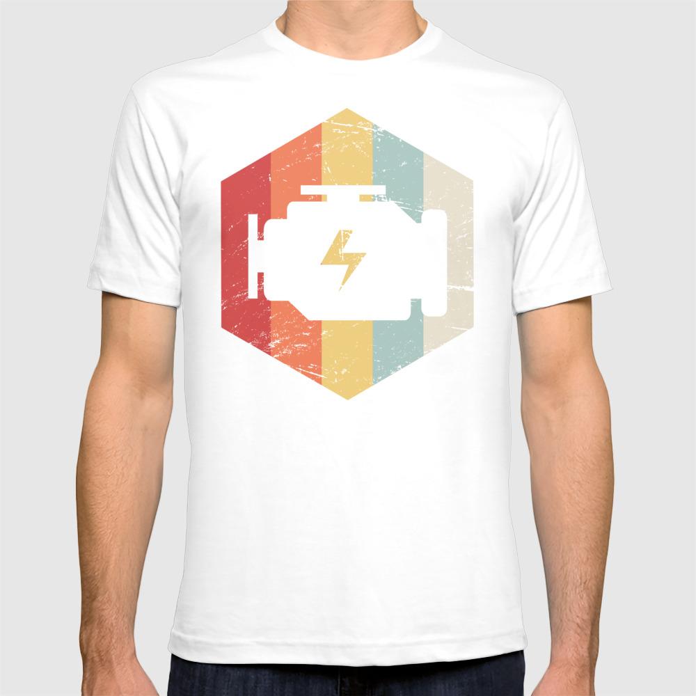 Retro 70s Mechanic Engine Block Icon T-shirt by Meatyboi TSR8910711