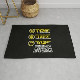 Dairy Free Dairy Allergy Awareness Peanut Gluten Rug