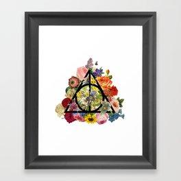 Floral Deathly Hallows - Black Framed Art Print