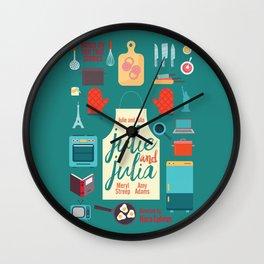 Julie and Julia, minimal movie poster, Meryl Streep, Amy Adams, Nora Ephron film, Julia Child, cook Wall Clock