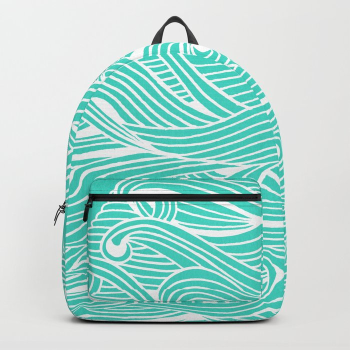 Water Drop – White on Turquoise Backpack