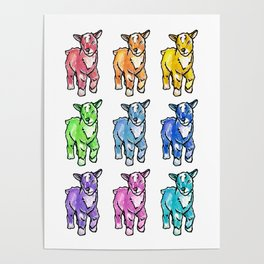 Rainbow Baby Goats Poster