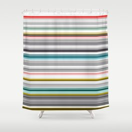 grey and colored stripes Shower Curtain