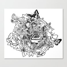 Cars in the Wild (3D papercut) Canvas Print
