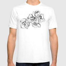 Flowers Line Drawing MEDIUM White Mens Fitted Tee