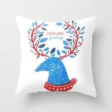 Reindeer Seasons Greetings Throw Pillow