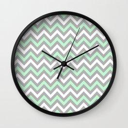 Chevron - mint and grey Wall Clock