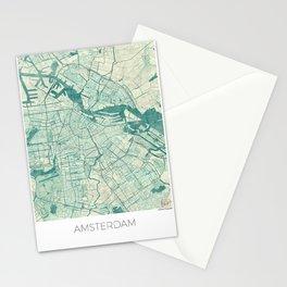 Amsterdam Map Blue Vintage Stationery Cards