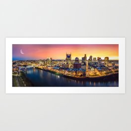 Nashville Cityscape Sunset Art Print