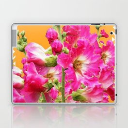 Fuchsia Pink Holly Hocks Pattern Orange Color Floral Art Laptop & iPad Skin