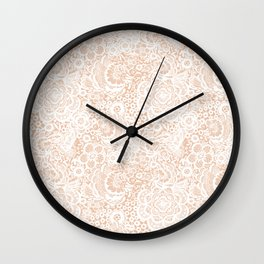 Nude with white lace flowers and birds Wall Clock