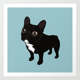 Brindle Frenchie likes to go for a walk to meet some friends Art Print