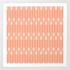 Peach and White Arrows /// www.pencilmeinstationery.com Art Print