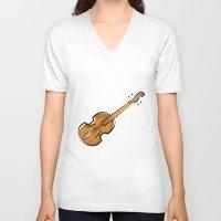 violin V-neck T-shirts featuring Violin by shopaholic chick