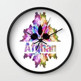 Afghan gift tie dye watercolor  Wall Clock