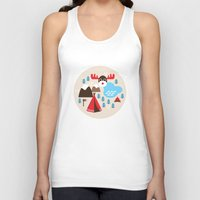 scandinavian Tank Tops featuring Scandinavian retro moose pattern by Little Smilemakers Studio