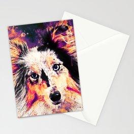 border collie dog 5 portrait wslsh Stationery Cards