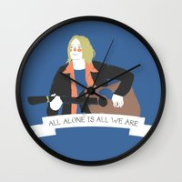kurt rahn Wall Clocks featuring Kurt Illustration by Miss Noizez