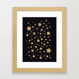 Gold Stars on BLack Framed Art Print