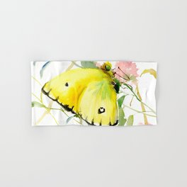 Soft Yellow Butterfly and Pink Flower, pink turquoise lemon yellow girls room art, design Hand & Bath Towel