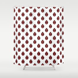 Sparkly red sparkles Ladybug pattern Shower Curtain