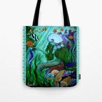 little mermaid Tote Bags featuring Little Mermaid. by Sylvie Heasman