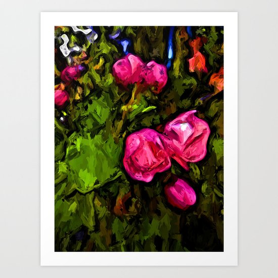 Pink Blossoms in the Green Wind Art Print