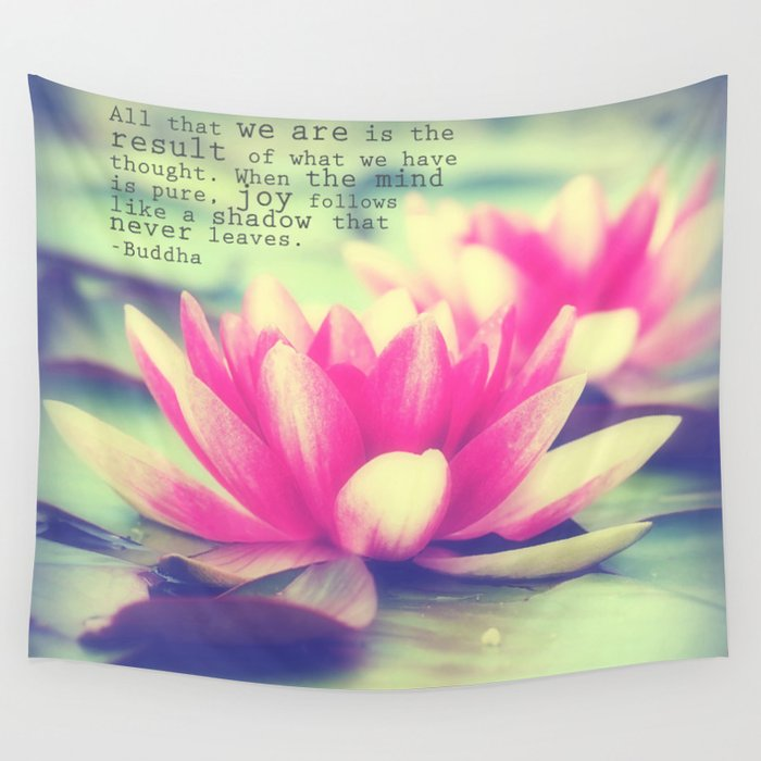 Lotus Buddha Quote Wall Tapestry By Whimsycanvas Society6