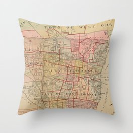 Vintage Map of Orange NJ (1911) Throw Pillow